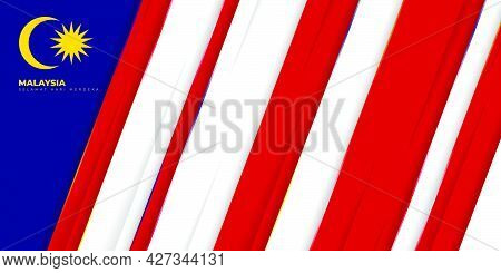 Blue, Red And White Geometric Background For Malaysia Independence Day Design. Malaysian Text Mean I