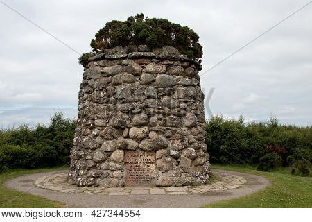 Memorial Stone Cairn Structure At Culloden Battle Field Inverness Scotland