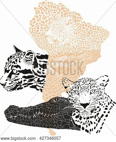 Vector Illustration With A Pattern Of Jaguar And Crocodile Skin And With A Map Of The South American