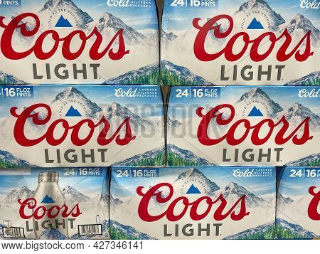 Orlando, Fl Usa - July 18, 2021: Cases Of Cans Of Coors Light Beer At A Sam\'s Club Warehouse Store