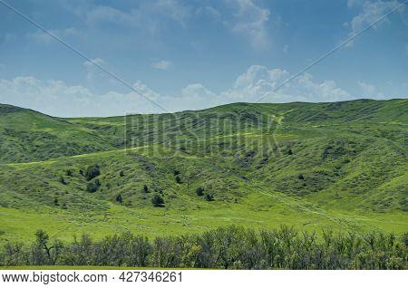 Badlands National Park, Sd, Usa - June 1, 2008: Intense Green Hills And Prairie Under Blue Cloudscap