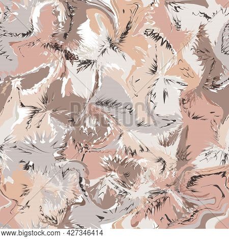 Vector Abstract Seamless Pattern Or Background In Trendy Colors. Decoration With Blurs, Spots And Bl