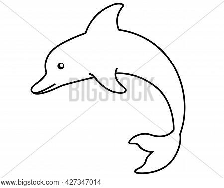 Bottlenose Dolphin - Vector Stylized Linear Picture For Coloring Pages, Logo Or Pictogram. Outline.