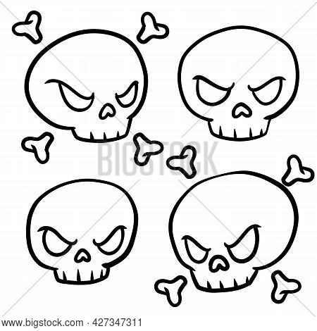 Pirate Flag Jolly Roger. Funny Cartoon Flat Illustration. Set Of Symbol Of Robbers And Halloween