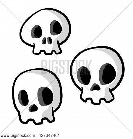 Set Of Funny Skulls. White Human Bones. Scary Element Of Halloween. Death's Head. Cartoon Flat Illus