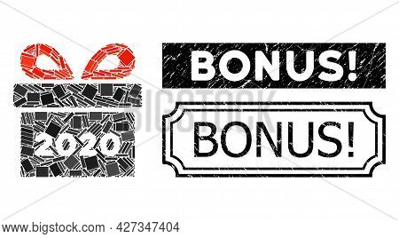 Collage 2020 Gift Designed From Rectangular Parts, And Black Grunge Bonus Exclamation. Rectangle Sta