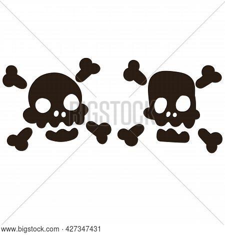 Death Head. Cartoon Flat Illustration. Black Human Bones On White Background