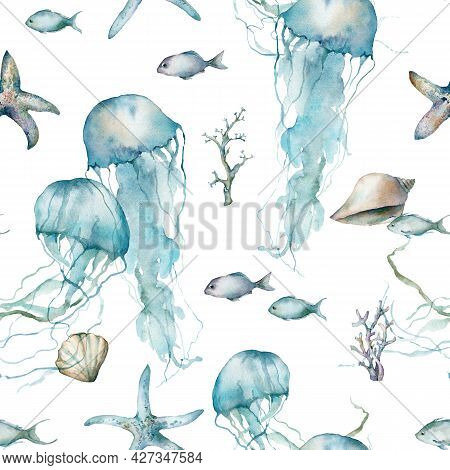 Watercolor Tropical Seamless Pattern Of Jellyfish, Fish, Starfish, Laminaria And Coral. Underwater A