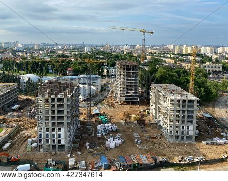 A View From A Height Of A Large Modern Construction Site Of Tall Large Houses And Multi-storey Build