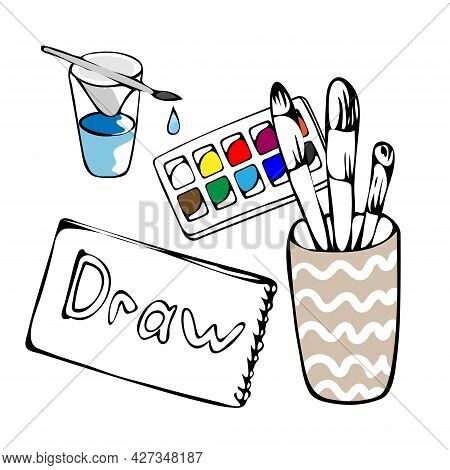 Set Of School Supplies Or Stationery Hand Drawn With Contour Lines On A White Background. Lesson Sup