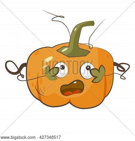 Scared Pumpkin Character Isolated Vector Illustration. Autumn Harvest