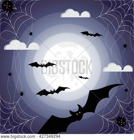 Happy Halloween. Bats At Night Under The Light Of The Full Moon, Spiders And Cobwebs On A Dark Blue