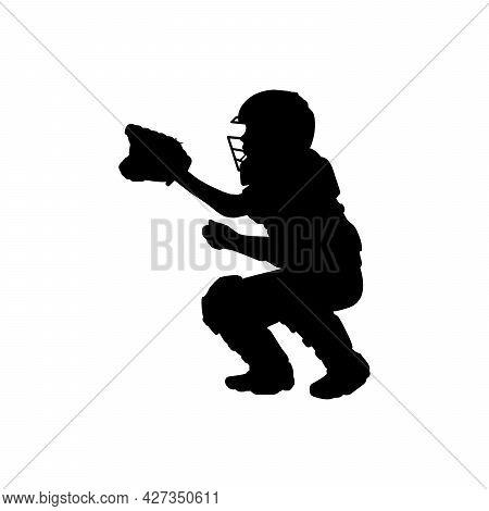 Silhouette Boy Baseball Catcher About To Catch Ball. Symbol Sport. Illustration Icon Logo