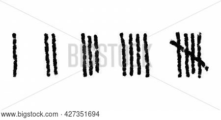 Charcoal Tally Marks Isolated On White Background. Day Counting Symbols On Jail Wall. Unary Numeral