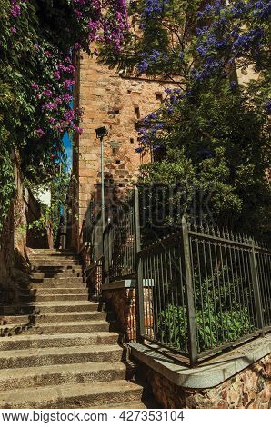 Narrow Alleyway With Staircase On The Way Up And Old Building With Iron Grid And Flowering Trees At