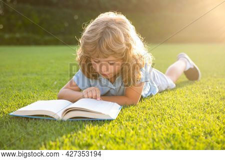Smart Clever Kids. Cute Lovely Child Reading Book Outside. Kid Read Book In Park. Summer Outdoor Kid