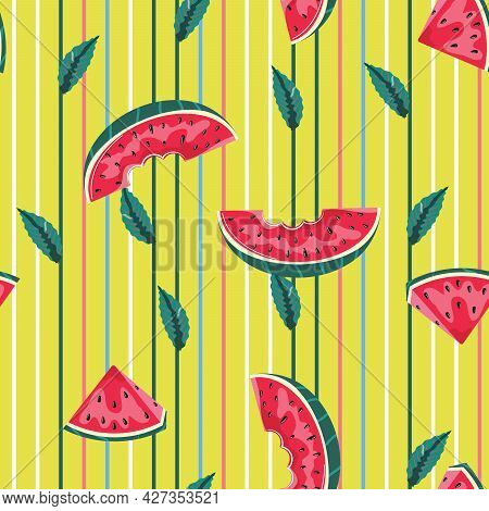 Watermelon Background With Leaves. Seamless Pattern With Watermelon Slices On Yellow Background. For