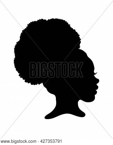 Black Afro African American Little Girl Vector Portrait Profile Head Face Silhouette,natural Curls W