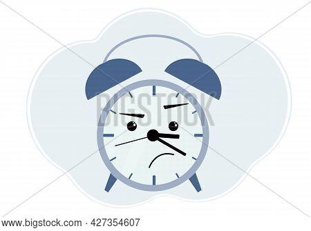 Blue Alarm Clock Illustration With Anger And Displeasure Emotion