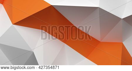 Triangle Geometric Polygon Abstract White Background Pattern With Orange Band, 3d Illustration