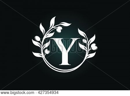 Initial Letter Y Sign Symbol With Olive Branch Wreath. Round Floral Frame Made By The Olive Branch.