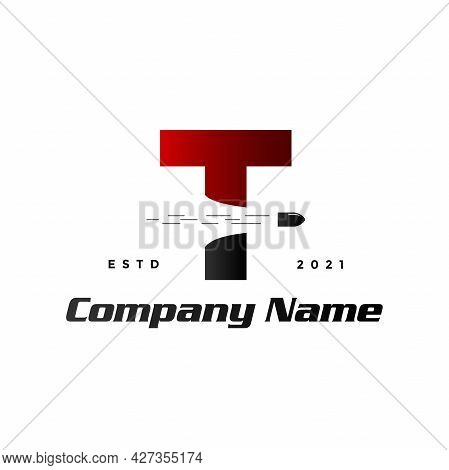 Modern And Simple Illustration Logo Design Initial T Combine With Bullet Shot.