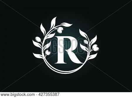 Initial Letter R Sign Symbol With Olive Branch Wreath. Round Floral Frame Made By The Olive Branch.