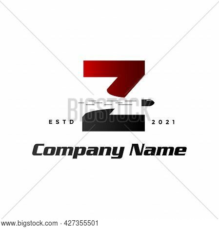 Modern And Simple Illustration Logo Design Initial Z Combine With Bullet Shot.