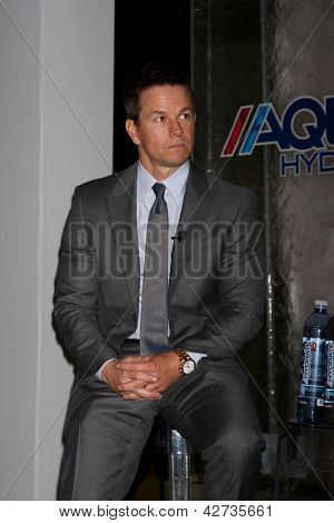 LOS ANGELES - FEB 26:  Mark Wahlberg at the Aqua Hydrate Press Conference at the Private Location on February 26, 2013 in West Hollywood, CA