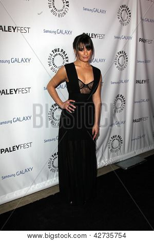 LOS ANGELES - FEB 27:  Lea Michele arrives at the PaleyFest Icon Award 2013 at the Paley Center For Media on February 27, 2013 in Beverly Hills, CA