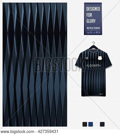 Soccer Jersey Pattern Design. Geometric Pattern On Black Abstract Background For Soccer Kit, Footbal