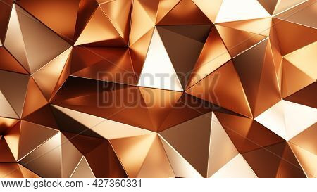 3d Rendering. Gold Triangular Abstract Background And Texture.
