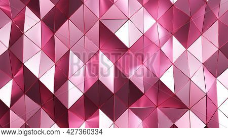 3d Rendering. Pink Triangular Abstract Background And Texture.