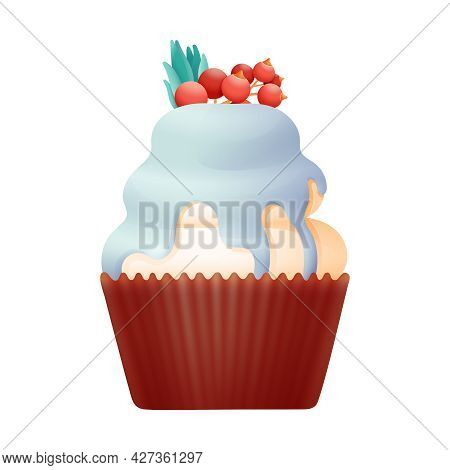 Cupcake With Cream And Berries Vector Design With Whipped Cream And Topping Decorated