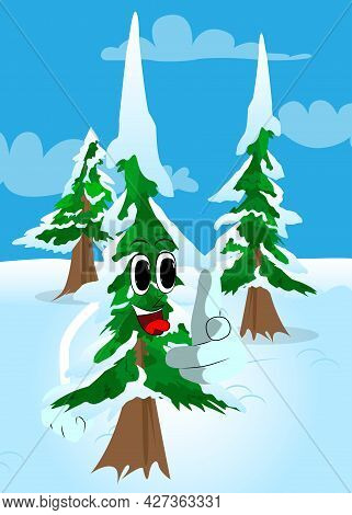 Cartoon Winter Pine Trees With Faces Pointing At The Viewer With His Hand. Cute Forest Trees. Snow O