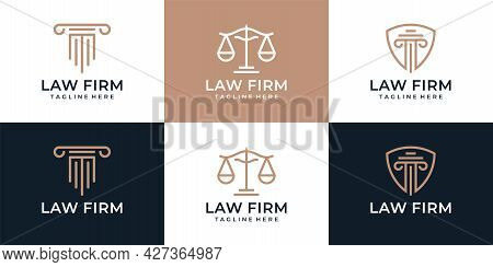 Set Of Creative Law Firm Justice Element Logo Design Attorney Legal Jury. Logo Can Be Used For Icon,