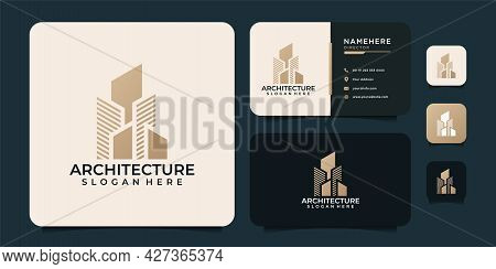 Creative Gold Real Estate Architecture Logo Finance Agent Property Apartment. Logo Can Be Used For I