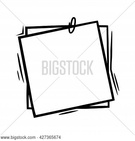 Doodle Paper With Paperclip. Empty Sheets With Clip For Memos And Labels. Doodle Vector Illustration