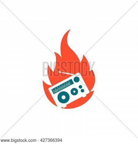 On Air Radio Broadcast Logo Icon Vector Illustration Design