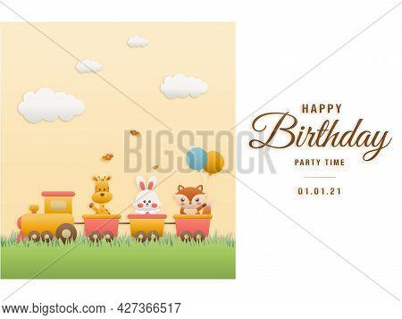 Cute Hippo, Cake And Elephant On Train Birthday Greeting Card. Jungle Animals Celebrate Children's B