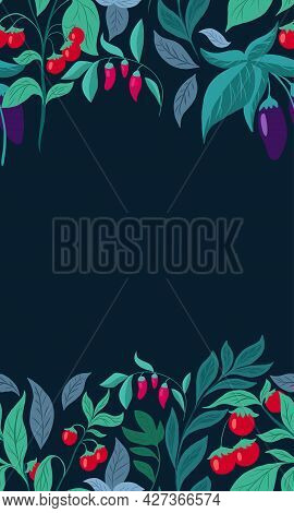 Vertical Card With Vegetables And Foliage And Copy Space. Vector Template With Eggplants, Cherry Tom
