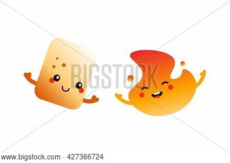 Couple Of Cute And Smiling Cartoon Characters. Toasted Marshmallow And Burning Fire, Flame Character