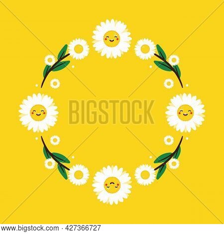 Cute Cartoon Style Vector Round Frame Template, Background With Camomile, Daisy Flower Characters An