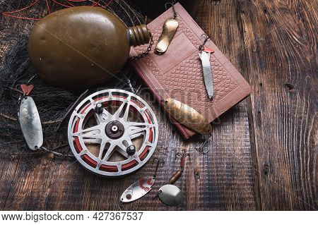 Old Soviet Fish Bait. Fishing Lures And A Book. Instructions For Fishermen. Fishing Literature. View