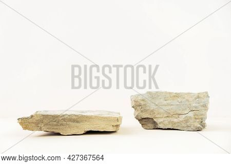 Stone Podium For Displaying Products On A Pastel Beige Background. Ideal For Product Advertising. Co