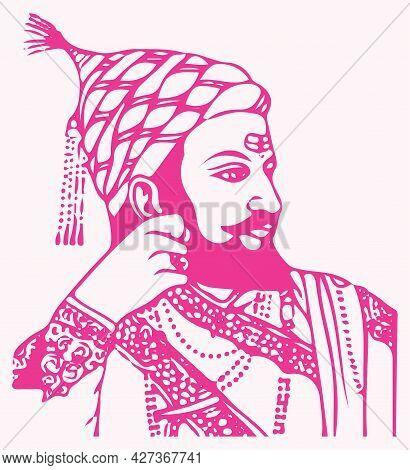 Sketch Of Chhatrapati Shivaji Maharaj Indian Ruler And A Member Of The Bhonsle Maratha Clan Outline,