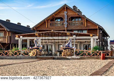 Zaliznyi Port, Ukraine - July 23, 2020: Resort Hotel Pegas On The Embankment In Zaliznyi Port Villag