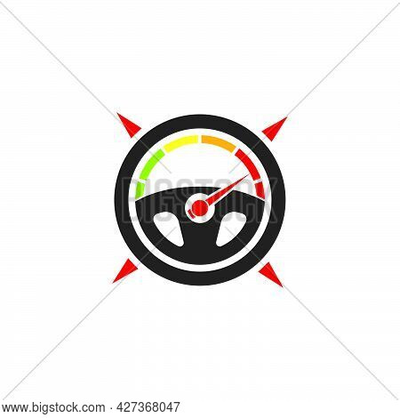 Car Steering Wheel Compass Concept  Logo Icon Vector Illustration