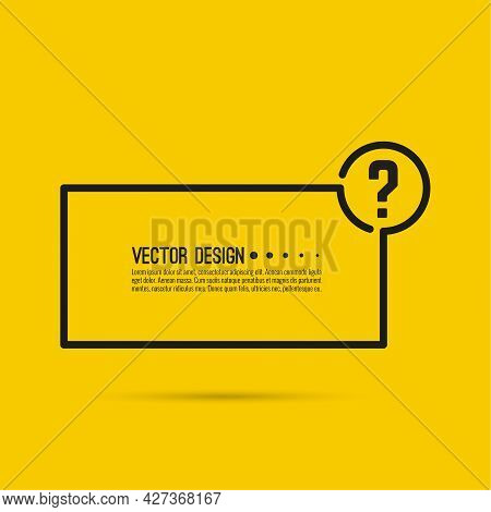 Question Mark Icon. Help Symbol. Faq Sign On Yellow Background. Vector. Minimal, Outline. Quiz Symbo