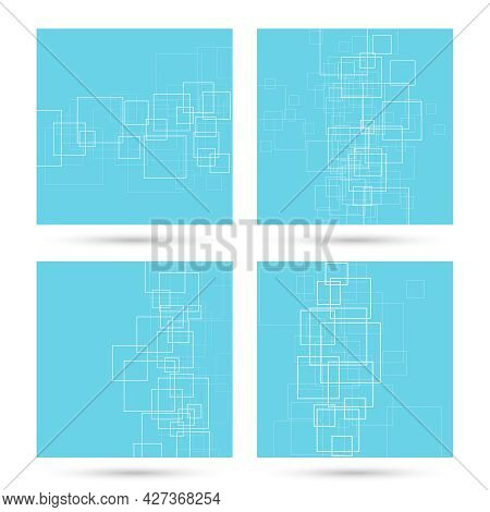 Set Of Vector Abstract Backgrounds With Intersecting Rectangular Shapes. Illustration With Floating